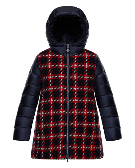 Moncler Curiosite Mixed Media Coat, Size 4-6
