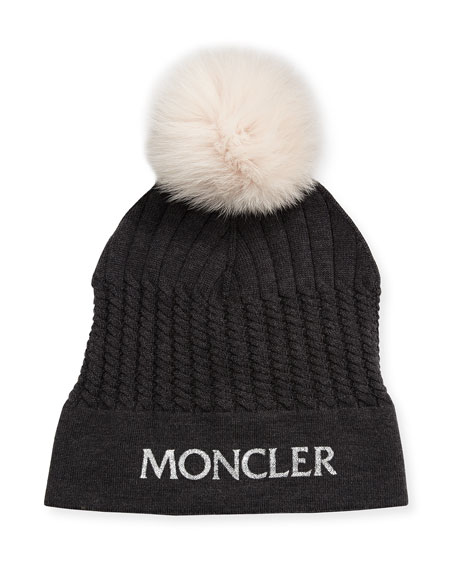 Moncler Girls  Berreto Virgin Wool Logo Beanie Hat w  Fur Pompom e0564eb0fb