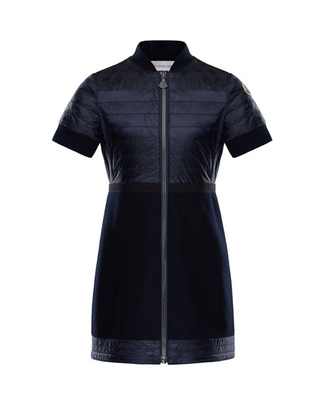 buy online 7a14d e1cf6 Moncler Short-Sleeve Abito Mixed Media Dress, Size 4-6