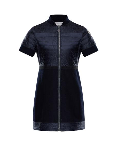 Moncler Short-Sleeve Abito Mixed Media Dress, Size 4-6