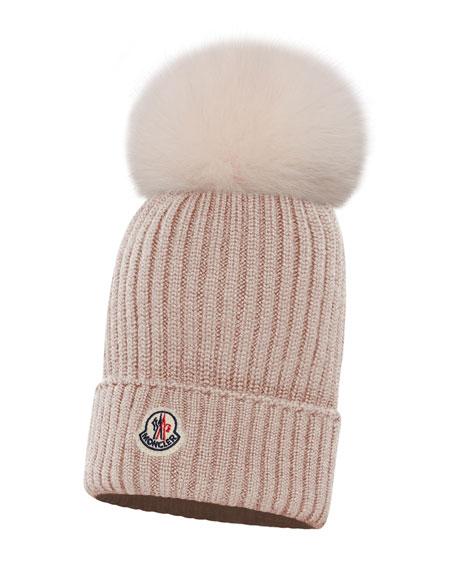 Kids' Berretto Ribbed-Knit Beanie Hat w/ Fur Pompom