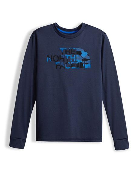 Boys' Long-Sleeve Camo Logo Reaxion Tee, Blue, Size XXS-XL
