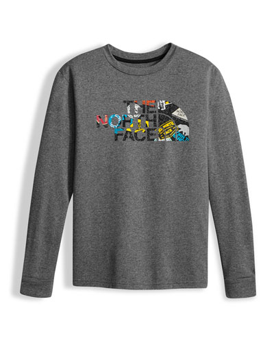 Boys' Long-Sleeve Logo Reaxion Tee, Gray, Size XXS-XL