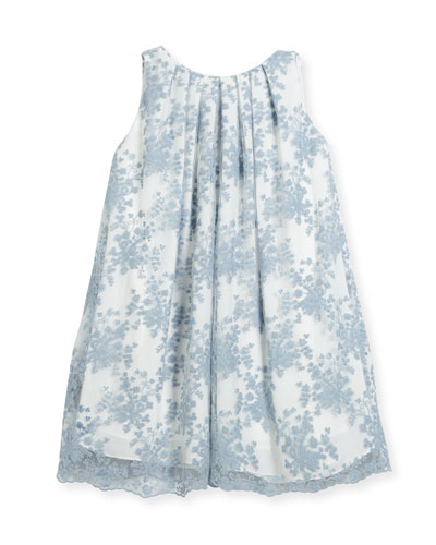 Pleated Lace Float Dress, Size 7-14