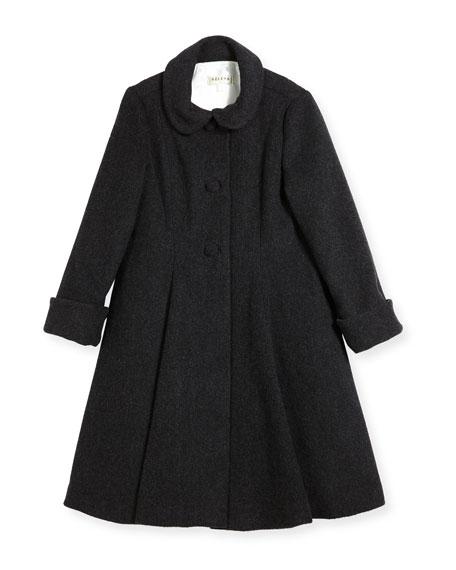 Wool Topper Coat, Gray, Size 7-14