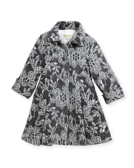 Floral Topper Coat, Size 7-14