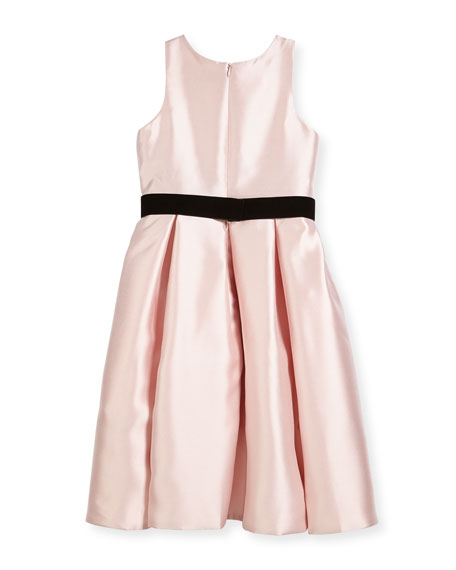Beaded Bodice High-Low Bow-Pleat Dress, Size 4-6X
