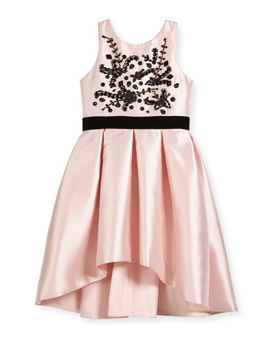 Beaded Bodice High-Low Bow-Pleat Dress, Size 4-6X