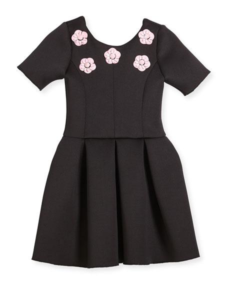 Zoe Flower Stud Box-Pleat Dress, Size 4-6X