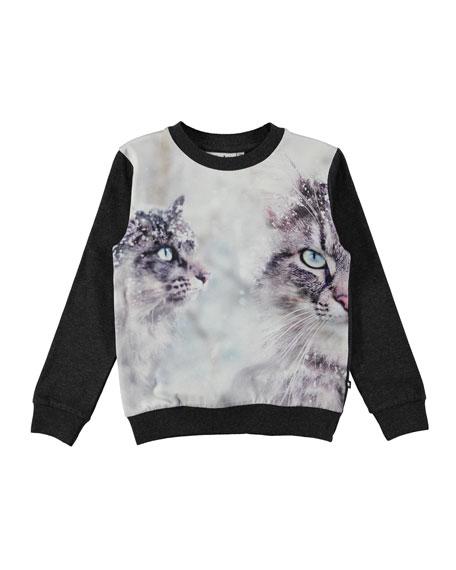 Regine Crewneck Snow Cat Sweatshirt, Size 4-12