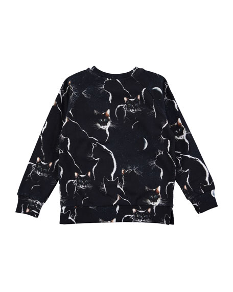 Long-Sleeve Marina Moon Cat Sweatshirt, Size 3-12