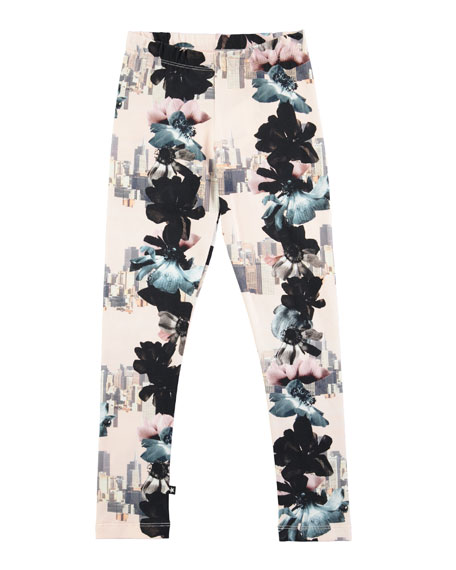 Niki Floral City Stretch Jersey Leggings, Light Pink, Size 3-12