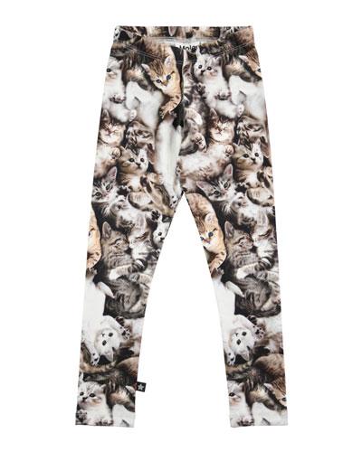 Niki Kitten Stretch Jersey Leggings, Gray, Size 3-12
