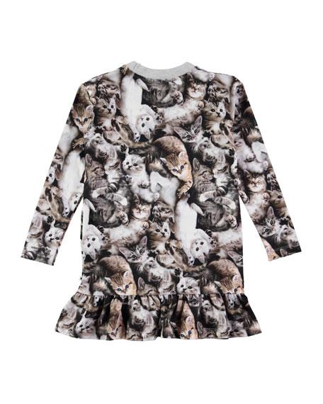 Caras Long-Sleeve Kitten Dress, Size 2T-10