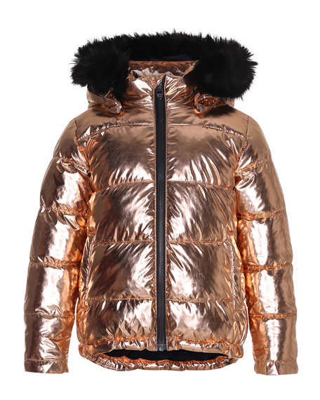Molo Hedia Metallic Puffer Jacket w/ Faux-Fur Trimmed