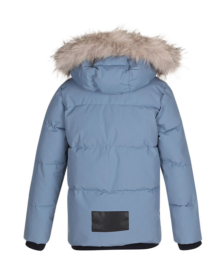 Herbert Hooded Puffer Jacket w/ Faux-Fur Trim, Size 4-12
