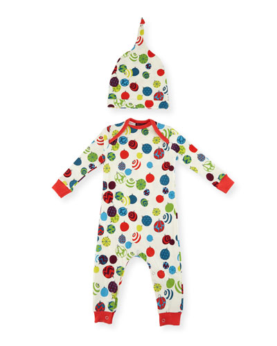 Ornament-Print Knit Coverall Pajamas w/ Hat