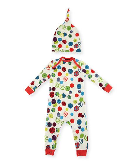 Bedhead Ornament-Print Knit Coverall Pajamas w/ Hat
