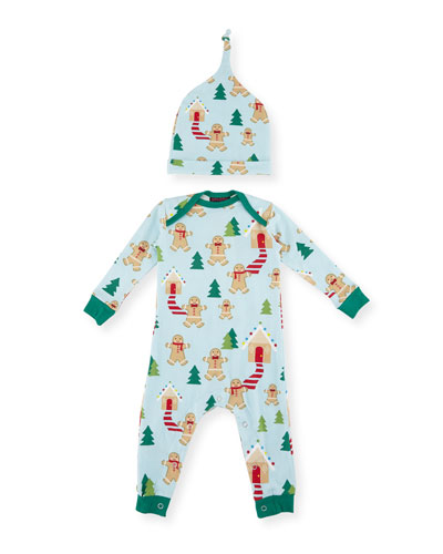 Gingerbread-Print Knit Coverall Pajamas w/ Hat