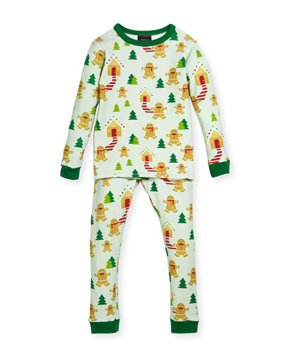 Gingerbread-Print Pajamas Set, Size 10-12