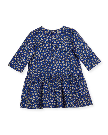 Long-Sleeve Squirrel-Print Dress