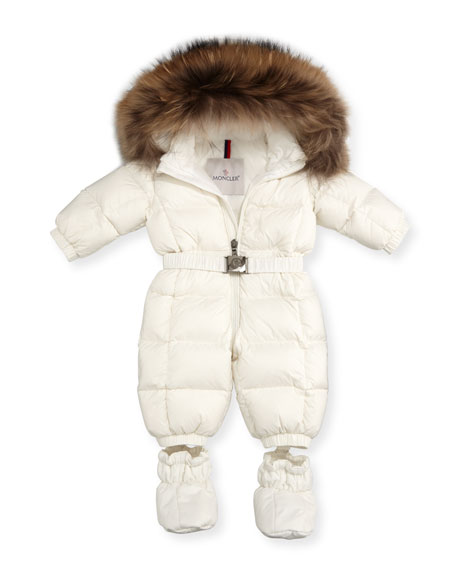 Jean Quilted Snowsuit w/Fur Hood, Size 3-24 Months