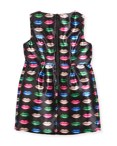 Kiss-Print Shift Dress, Size 4-7