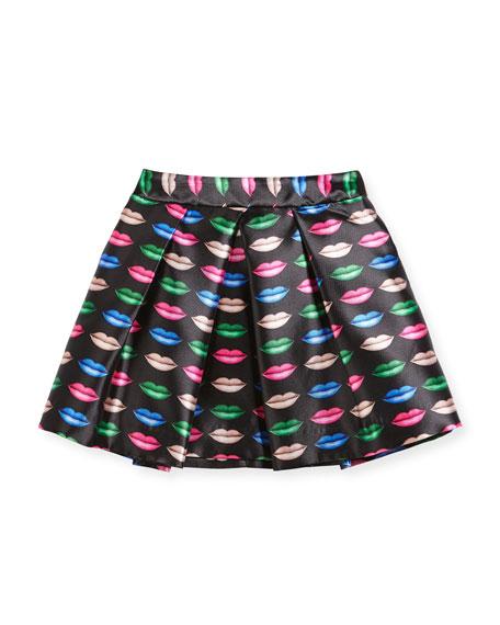 Kiss-Print Pleated Skirt, Size 8-14