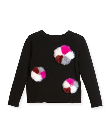 Pompom Pullover Knit Sweater, Size 8-14