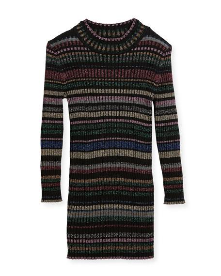 Metallic Striped Rib Dress, Size 2-7