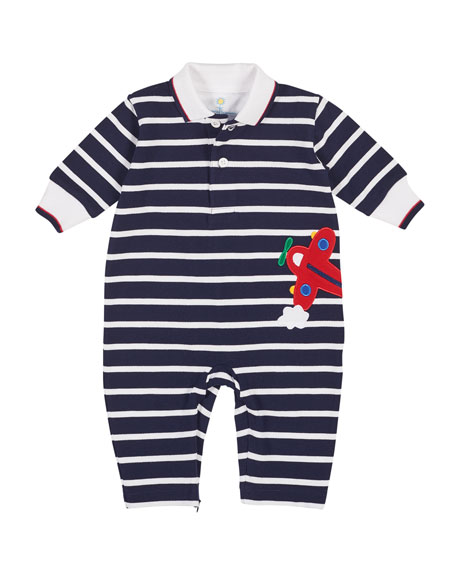 Stripe Knit Piquet Airplane Coverall, Size 3-12 Months