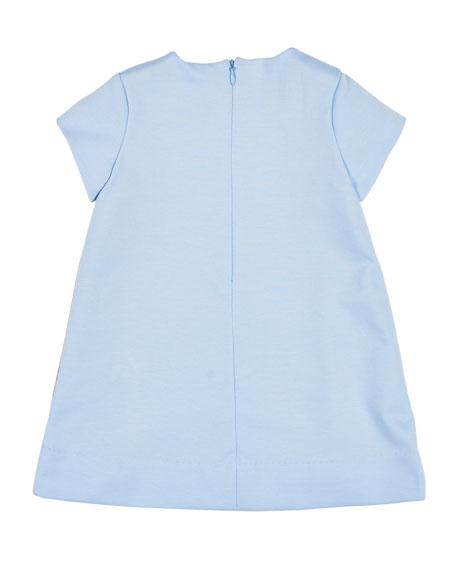 Plaid Ponte Dress w/ Flower Detail, Size 2-6X