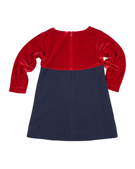 Ponte & Velvet Dress w/ Heart Pockets, Size 4-6X