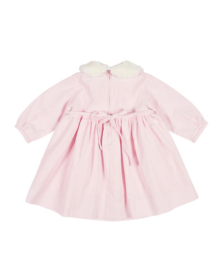 Embroidered Corduroy Dress w/ Removable Fur Collar, Size 6-24 Months