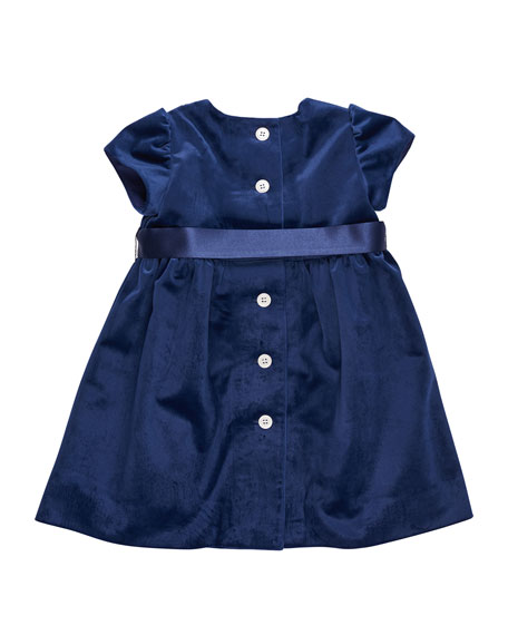 Twill Velvet Lattice Dress w/ Pearly Trim, Size 12-24 Months