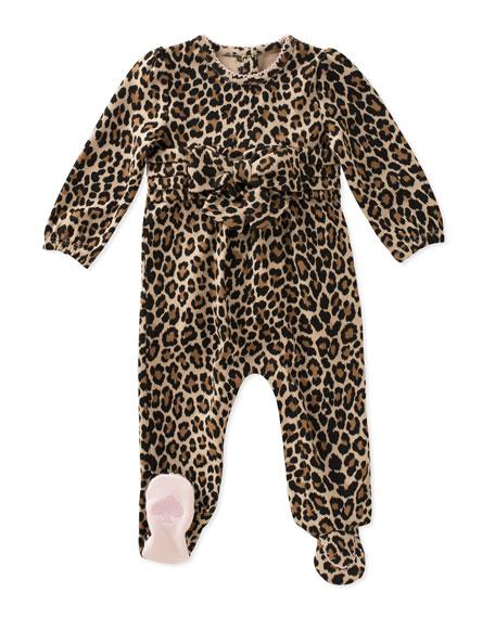 jillian leopard-print footie pajamas, size 3-9 months