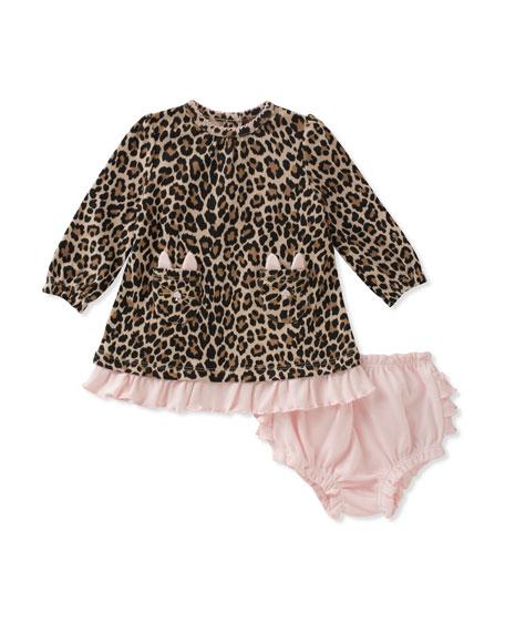 cat-pocket leopard dress w/ bloomers, size 3-9 months