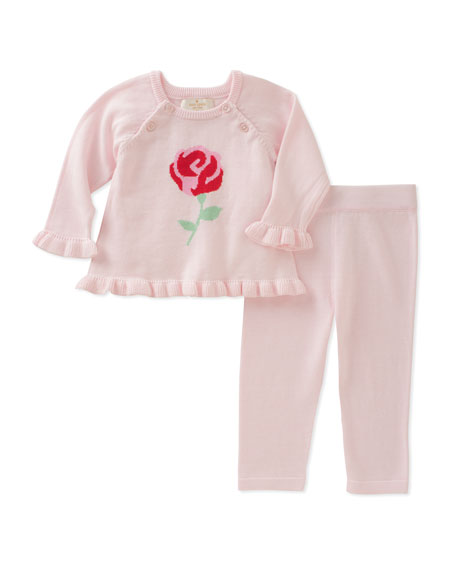 rose knit sweater w/ leggings, size 3-9 months