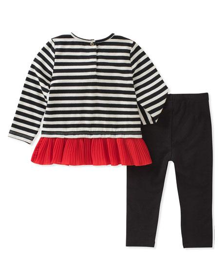 striped bow shirt w/ leggings, size 12-24 months