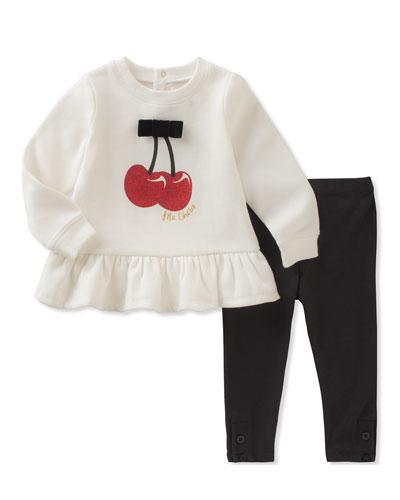 cherries sweatshirt w/ leggings, size 12-24 months