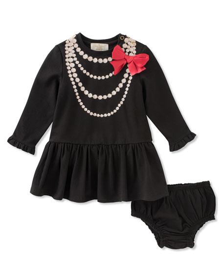pearl necklace trompe l'oeil dress w/ bloomers, size 12-24 months