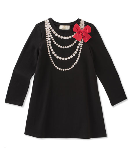 pearl necklace trompe l'oeil dress, size 2-6