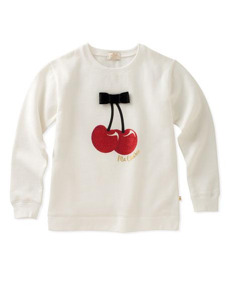 cherries sweatshirt with bow, size 2-6