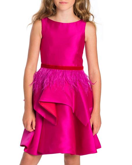 Peplum Party Dress w/ Feather Belt, Size 7-16