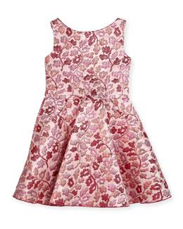 Berry Blossom Metallic Brocade Swing Dress, Size 7-16