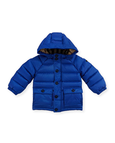 Lachlan Hooded Puffer Jacket, Blue, Size 6M-3Y