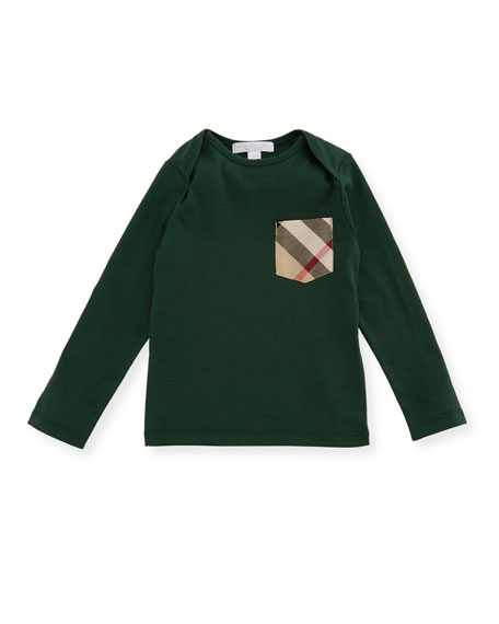 Callum Long-Sleeve Jersey Tee, Green, Size 6M-3Y
