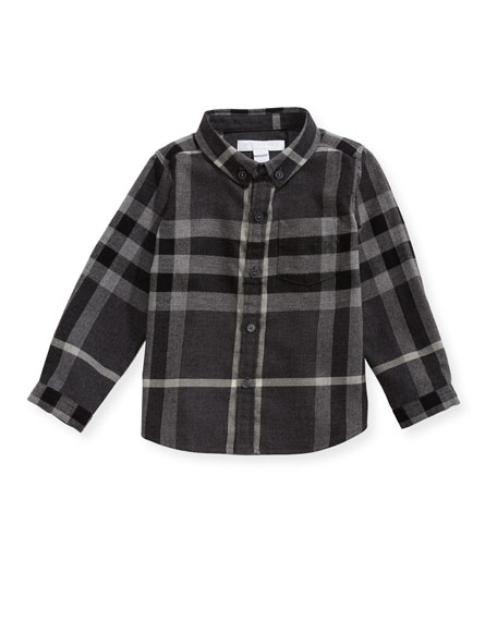 Burberry Fred Mini Long-Sleeve Check Shirt, Gray, Size