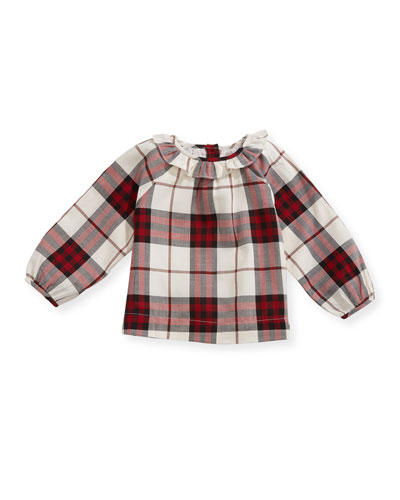 Karla Ruffle-Collar Check Blouse, Red, Size 6M-3Y
