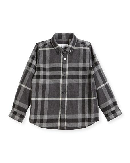 Fred Mini Long-Sleeve Check Shirt, Gray, Size 4-14